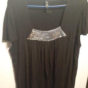 MXM Cap Sleeve Top With Sequin Collar